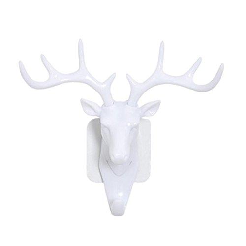 (Bescita Weihnachten Hirschkopf Selbstklebende Wand Tür Haken Aufhänger Kreative Tasche Schlüssel Klebrige Halter Dekoration (Weiß))