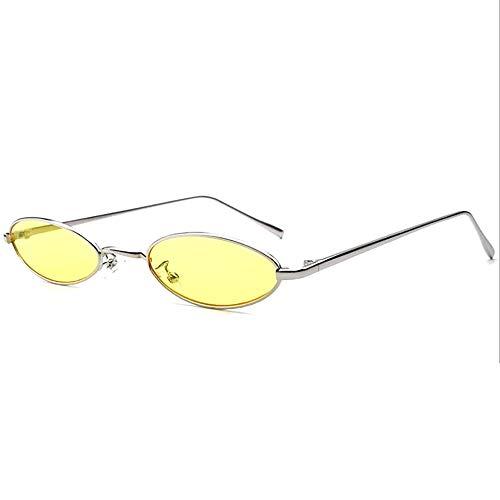 Shanyaid Fashion Steampunk Style Oval Sonnenbrille Kleine Metallrahmen Sonnenbrille Trend Mode Vintage Schlanke Sonnenbrille für Unisex Frauen Männer, Goldrahmen Grau Objektiv (Color : Color 5)