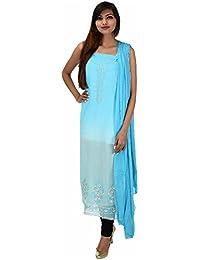 Antarnaad Women's Georgette Straight Chikankari Unstitched Dress Material (AP0126, Blue)