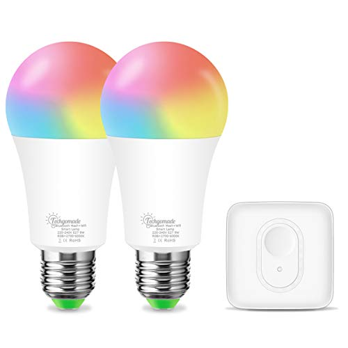 E27 Smart LED Wi-Fi+Bluetooth Lampe, Techgomade RGB+2700K+6000K Smart LED BIrne, Kompatibel mit Alexa, Echo, Siri, Dimmbar via APP, Ersetzt 60W Glühbirne, 2-er(2 A60 Smart Lampen+1 Mesh Hub)