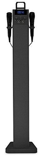 Beatfoxx SkyTower Karaoke-Turmlautsprecher Bluetooth Karaokeanlage Lautsprecher mit 2 Mikrofonen (UKW-Tuner, AUX-Eingänge, USB-Ladesockel, Echo-Effekt, Fernbedienung) schwarz