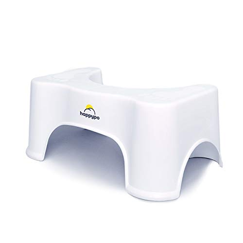HappyPo Toilettenhocker | Bei Hämorrhoiden, Verstopfung, Reizdarm, Blähungen, Blähbauch - schonende, schnellere Erleichterung durch ärztlich empfohlene Sitzhaltung