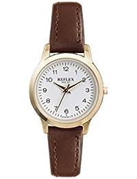 Reflex Damen Rund Weiß Zifferblatt Uhr mit Braun PU Lederband ref0041