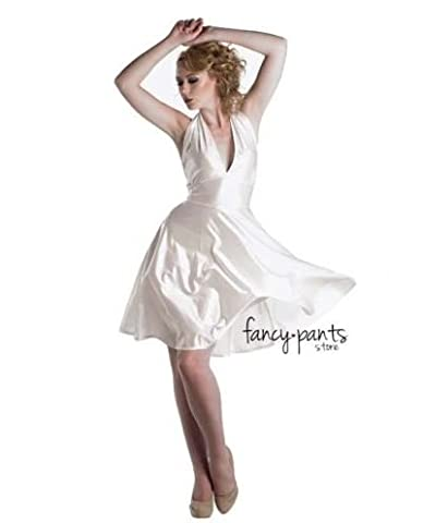 Ladies Marilyn Monroe Fancy White Dress Costume Outfit Film Star Celebrity Party - U00388