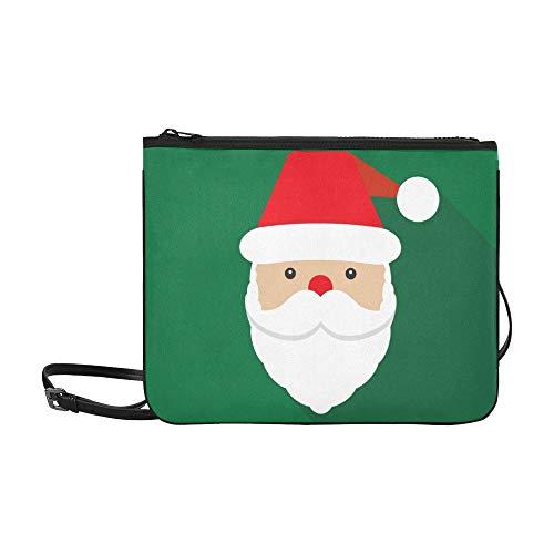 WYYWCY Santa Claus Icon Santa Claus Face Benutzerdefinierte hochwertige Nylon Slim Clutch Bag Cross-Body Bag Umhängetasche -