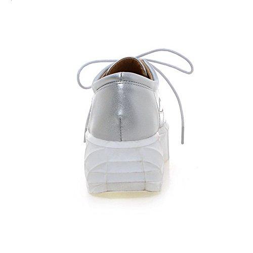 VogueZone009 Femme Matière Souple à Talon Correct Lacet Rond Chaussures Légeres Argent
