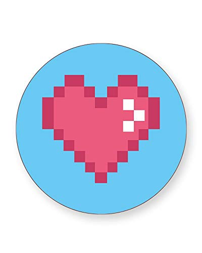Pixel Love Heart Retro Gaming Coaster. 1 or 4