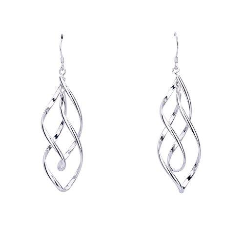 Butterme Damen Schmuck, 925 Sterling Silber Ohrring Doppel Marquise Loops Design Ohrringe, Damen Geschenk