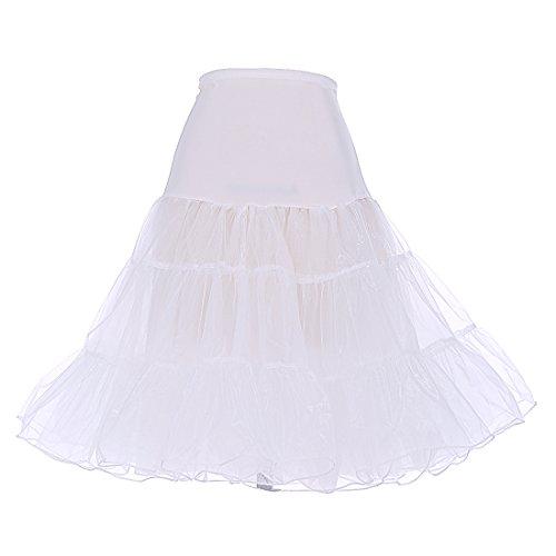 DRESSTELLS 1950 Petticoat Reifrock Unterrock Petticoat Underskirt Crinoline für Rockabilly Kleid Ivory XL