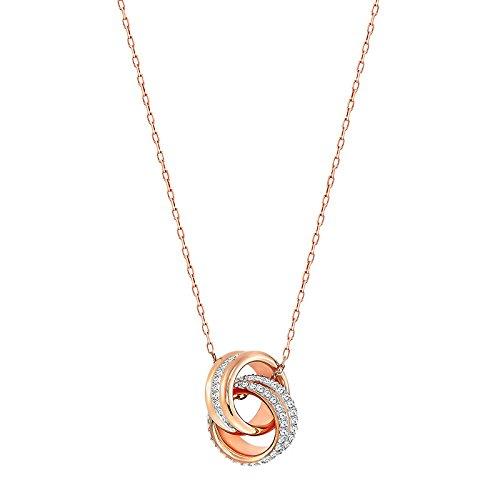 Swarovski pendente further, piccolo, bianco, placcato oro rosa