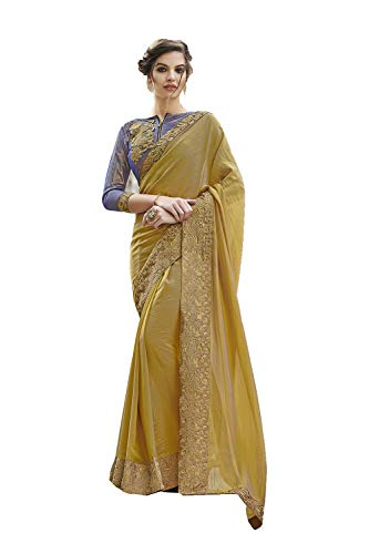 65deb96d074 Indian Sarees For Women Designer Party Wear Traditional Two Tone Gold Sari.