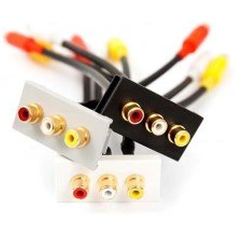 3 x RCA de audio (rojo, blanco, amarillo) acoplador negro módulo de Euro, Fly-cable conector hembra. Izquierda derecha de vídeo. Con Clip Modular