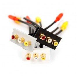 3 x RCA Phono (rosso, bianco, giallo) accoppiatore grigio Euro modulo, Fly-cavo connettore femmina. Sinistra destra video. Modular con clip