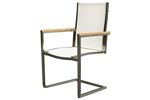 OUTFLEXX exklusiver Freischwinger Sessel in cremeweiß, aus solidem Edelstahl und hochwertiger Textilene mit Armlehnen aus FSC-Teakholz, 58,5 x 53 x 89 cm, Schwingstuhl, korrosionsbeständig