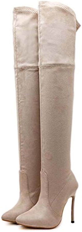 Botas de muslo de gran tamaño 11.5cm Botas de vestir de tacón de aguja punta estrecha estilete Botas de vestir...