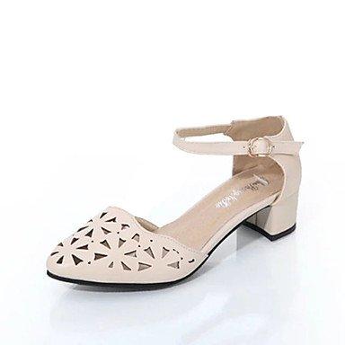 Zormey Les Talons Des Femmes Printemps Été Confort Chaussures Club Évider Respirer Librement Casual Robe Talon Buckle Beige Noir Blanc US6.5-7 / EU37 / UK4.5-5 / CN37