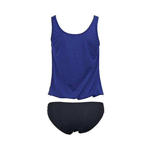 SUNNOW® Damen Tankini Bikini Set Figurbetont Einfarbig Badeanzug Push Up Top Strand Tankini Bikini Oberteil + Hose Blau