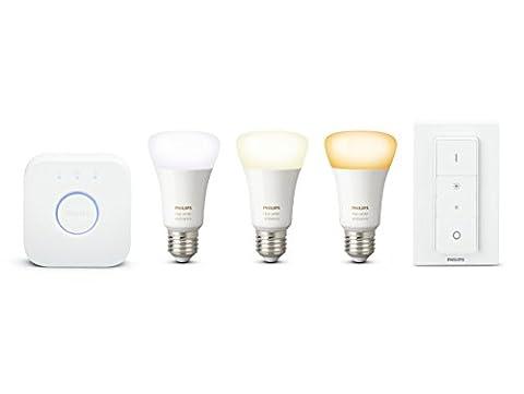 Philips Hue Kit de démarrage 3 ampoules White Ambiance E27 + pont de connexion et télécommande Hue incluse (New)