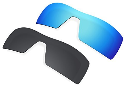 2 Pairs Lenses Replacement Polarized Blue & Black for Oakley Oil Rig Sunglasses by BVANQ