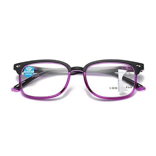 Lesebrille für Damen und Herren, Progressive Multifokus Lesebrillen, Blaulichtfilterbrille, Kunststoffrahmen für Lesekomfort-Lesegeräte, Anti-Blu-ray-Computerbrille UV Schutz
