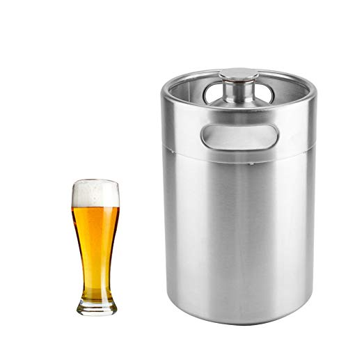 31e5ufUYe3L. SS500  - Beer Barrel Mini Keg Style Growler Stainless Steel Beer Supplies Holds Beer Double Handles for Home Camping Picnic (2L)