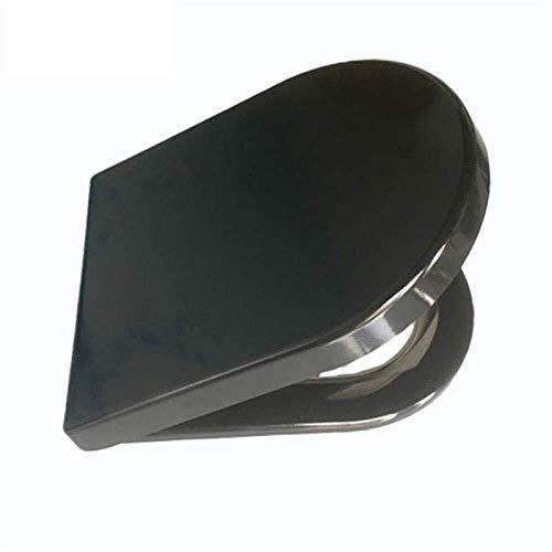 yjll WC-Deckel WC-Sitze Schwarz D-Form WC-Sitz Harnstoff-Formaldehyd-harzbeständige Edelstahlbasis Für Bad Und Waschraum