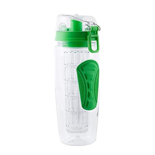 TOOGOO 1000Ml / 32Oz Frucht Infusing Infuser Wasser Flasche Zitrone Wasser Flasche Tragbare Klettern Camp Flaschen Detox Gesundheit Bpa Freies Grün
