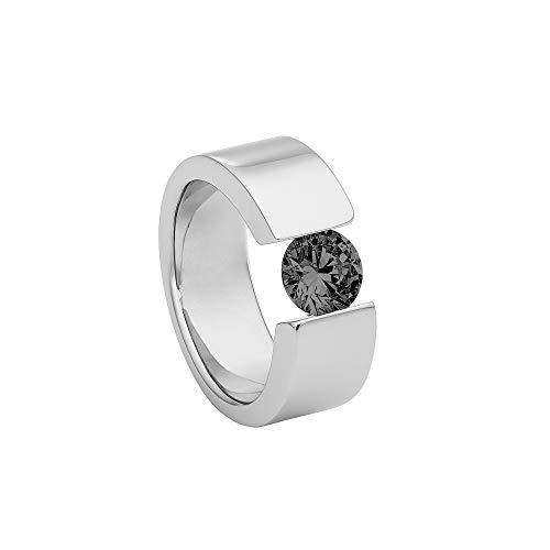 Heideman Ring Damen Turris aus Edelstahl Silber farbend poliert Damenring für Frauen mit Swarovski Stein Zirkonia schwarz im Brillant Schliff 7mm