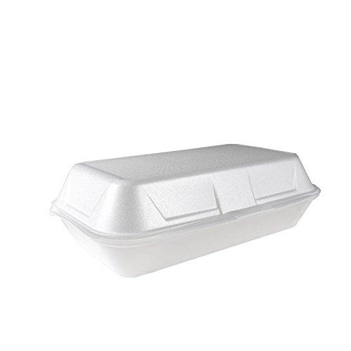BAMI 125 Stück Lunchbox groß, Iso Klappbox, EPS Lunchbox Styropor weiß 24x13,3x7,5 cm