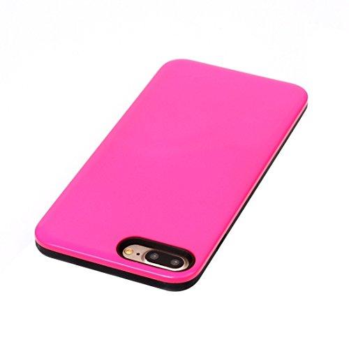 iPhone Case Cover Pour iPhone 7 Plus TPU + PU Combinaison Housse de protection arrière ( Color : Pink ) Magenta