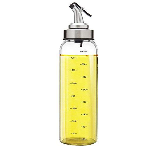 Marbrasse Olivenöl-Spenderflasche, 500 ml, Essig-Spenderkannen mit tropffreiem Ausgießer, Behälter für flüssiges Gewürz, Glasdekanter, für die Küche (Snap Top-glas)