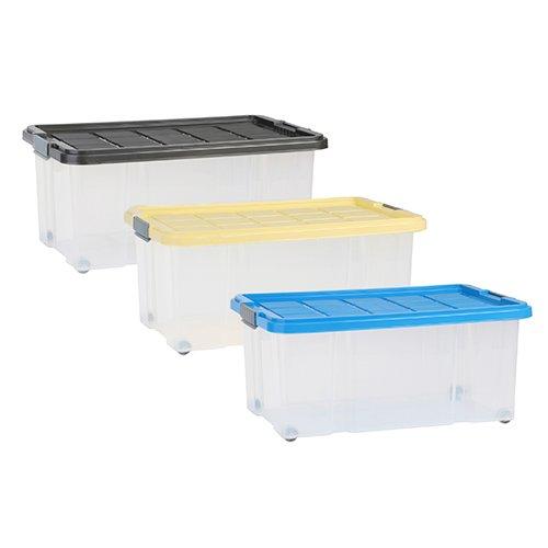 axentia Aufbewahrungsbox mit Rollen & Deckel, Stapelbox aus Kunststoff 45 Liter, Eurobox transparent, Maße: ca. 60 x 40 x 26 cm, Anthrazit, blau oder gelb - Farbe nicht wählbar