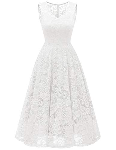 Meetjen Damen Elegant Spitzenkleid V-Ausschnitt Unregelmässig Vokuhila Kleid Festlich Cocktail Abendkleid Midi White L Lange Party-kleid
