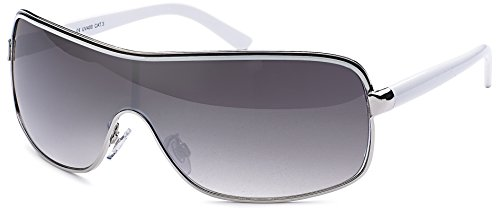 Feinzwirn Glamour - Damen Sonnenbrille Monoscheibe mit Strasssteinen, Designer-Sonnenbrille (weiss-silber)