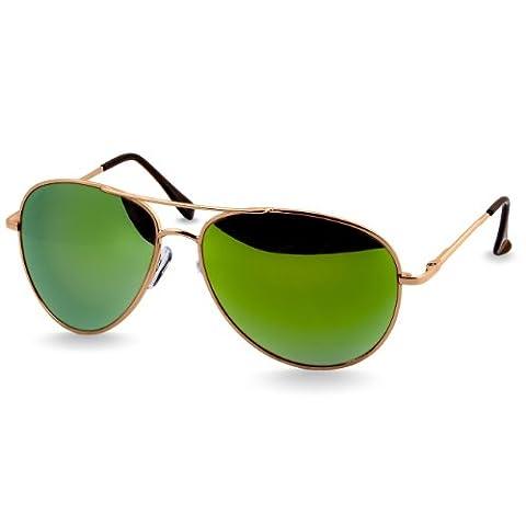 CASPAR SG013 Aviator Pilotenbrille / Sonnenbrille / Fliegerbrille , Farbe:gold / grün verspiegelt (Gold Grün Sonnenbrille)