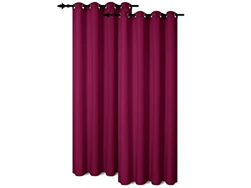 npluseins Doppelpack - Unifarbener Ösenvorhang - blickdichte Leinwandbindung - Elegante Wohndekoration in dezentem Design - erhältlich in 9 kräftigen Farben, Magenta