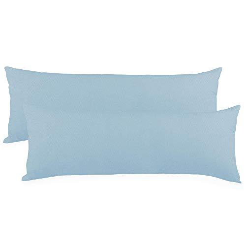 CelinaTex BeBasic Kissenbezug Doppelpack 40 x 145 cm Aqua blau Mikrofaser Seitenschläferkissen Bezug Jersey 5001685