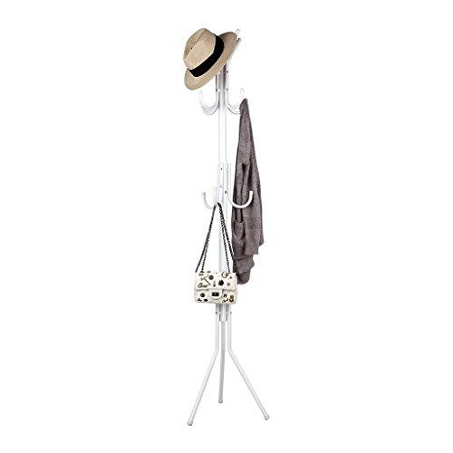 LANGRIA Garderobenständer Stabil Metall Kleiderständer 3 Ablage 11 Kleiderhaken für Foyer Büro, Weiß