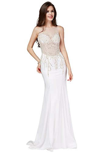 Gorgeous Bride Fashion Meerjungfrau Weiss Abendkleid Ballkleider Brautkleider (40, Weiss 2)