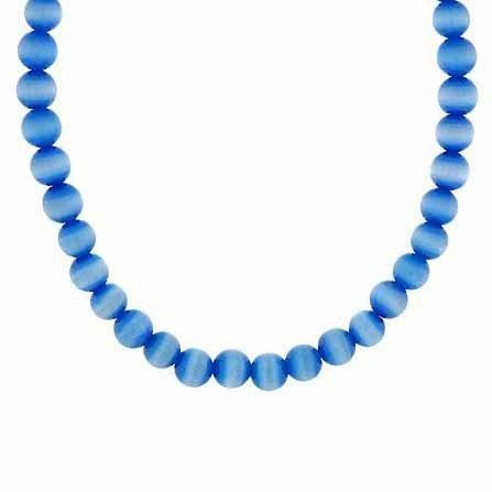 Sterling Silber 6mm Simulierte Hellblau Katzen Auge Stein Perle Perlen Kette 38,1–48,3cm Halskette
