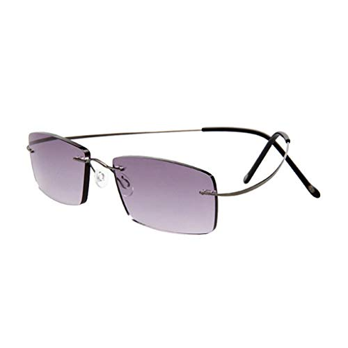 Axclg Reading glasses Superleichte Titanium Anti-Müdigkeit Lesebrille Männer Frauen Mode Randlose Lesebrillen + Brillen, Lupe readerCase (Grau, Silner, Lila)