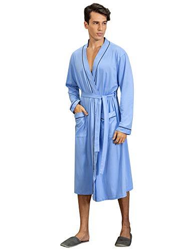 Sykooria Bademantel Herren Baumwolle, Leichter Morgenmantel Herren für Sommer, Nachtwäsche Kimono Saunamantel Herren Pyjama mit 2 Taschen und Gürtel, Weich und Bequem, Dunkelblau - Mantel Pyjamas