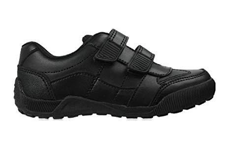 Boys Black Leather School Shoes Hook