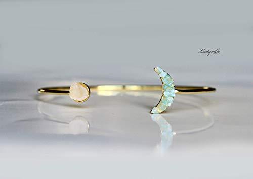 Armreif mit Mond aus Aquamarin und Rosenquarz gold filled