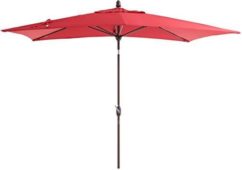 SORARA Sonnenschirm Parasol | Rot | 300 x 200 cm (3 x 2 m) | Rechteckig Porto | Polyester 180 g/m² (UV 50+)| Kurbel & Pendel (incl. Hulle, excl. Ständer)
