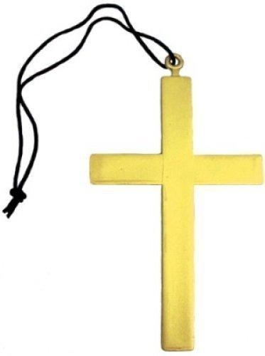 �se Nonne Mönch Vikar Goldenes Kreuz Kostüm Kleid Outfit Halskette - Gold, One size (Nonne Kostüm Outfit)
