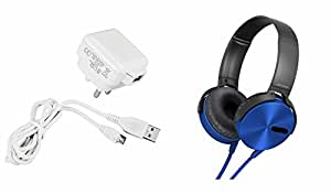 MIRZA Mobile Charger & Extra Bass XB450 Headphones for MICROMAX CANVAS PEP(Mobile Wall Charger||Travel Charger||With Power Adapter||Mobile Charger||With Seperate Data Cable||USB Cable||Data Transfer Cable & Extra Bass XB 450 Headphones||Sports Headphones||Gym Headphones)