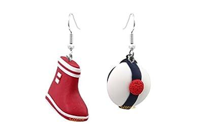 """Lady-Charms - Fait main - Boucles d'oreilles""""Botte rouge & béret de marin"""""""