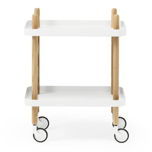 Normann Block - Table d'appoint/desserte, blanc structure frêne