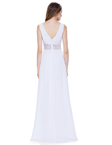 Ever Pretty Damen Sexy V-Ausschnitt Lang Abendkleider 08854 Weiß